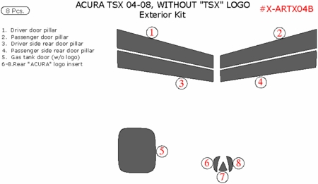 2004-2008 Acura TSX Exterior Trim Kit Package, 8 Pcs