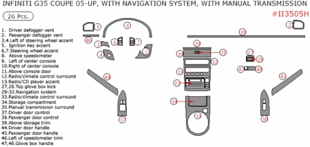 05 06 07 Infiniti G35 Coupe Basic Dash Kit, w/ Navigation