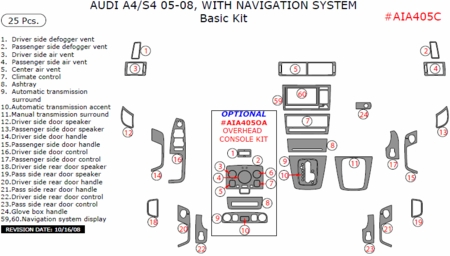 2005-2008 Audi A4 Basic Dash Trim Kit, w/ Navigation