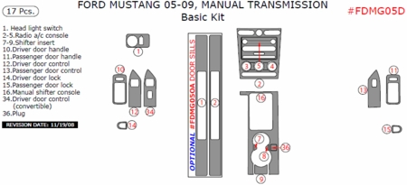 2005-2009 Ford Mustang Basic Dash Trim Kit w/ Manual Trans