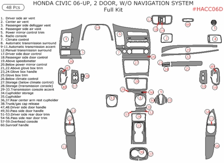 2006-2010 Honda Civic Coupe Full Dash Trim Kit, w/o