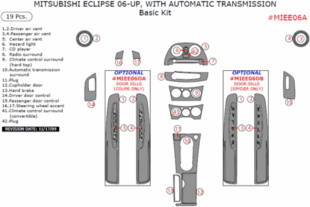 2006-2011 Mitsubishi Eclipse, Auto, Basic Interior Dash