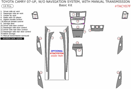 2007-2010 Toyota Camry Interior Basic Dash Trim Kit, w