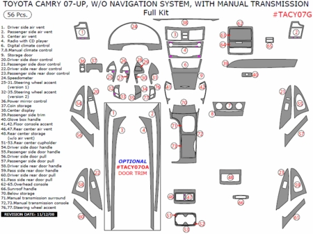 2007-2011 Toyota Camry Interior Full Dash Trim Kit, w