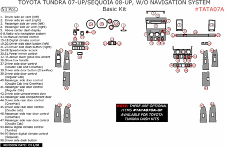 2007-2010 Toyota Tundra / 08-10 Sequoia, Basic Dash Trim