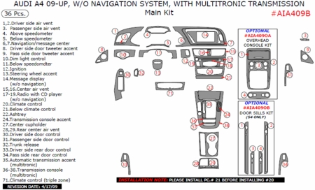 2009 2010 Audi A4 Main Dash & Interior Trim Kit, Auto