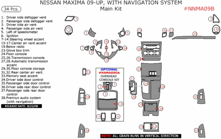 09 10 Nissan Maxima Main Dash Trim Kit, w/ Navigation, 34