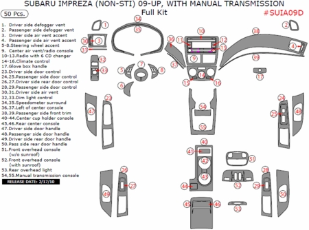 2009 2010 Subaru Impreza Full Dash Trim Kit, w/ Manual