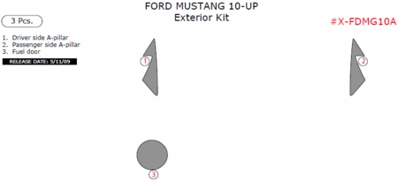 2010-2012 Ford Mustang Exterior Trim Kit Package, 3 Pcs X