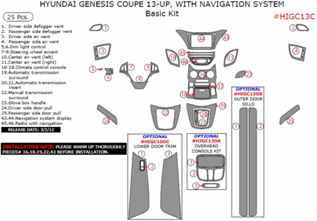 2013 Genesis Coupe Interior Dash Trim Kits