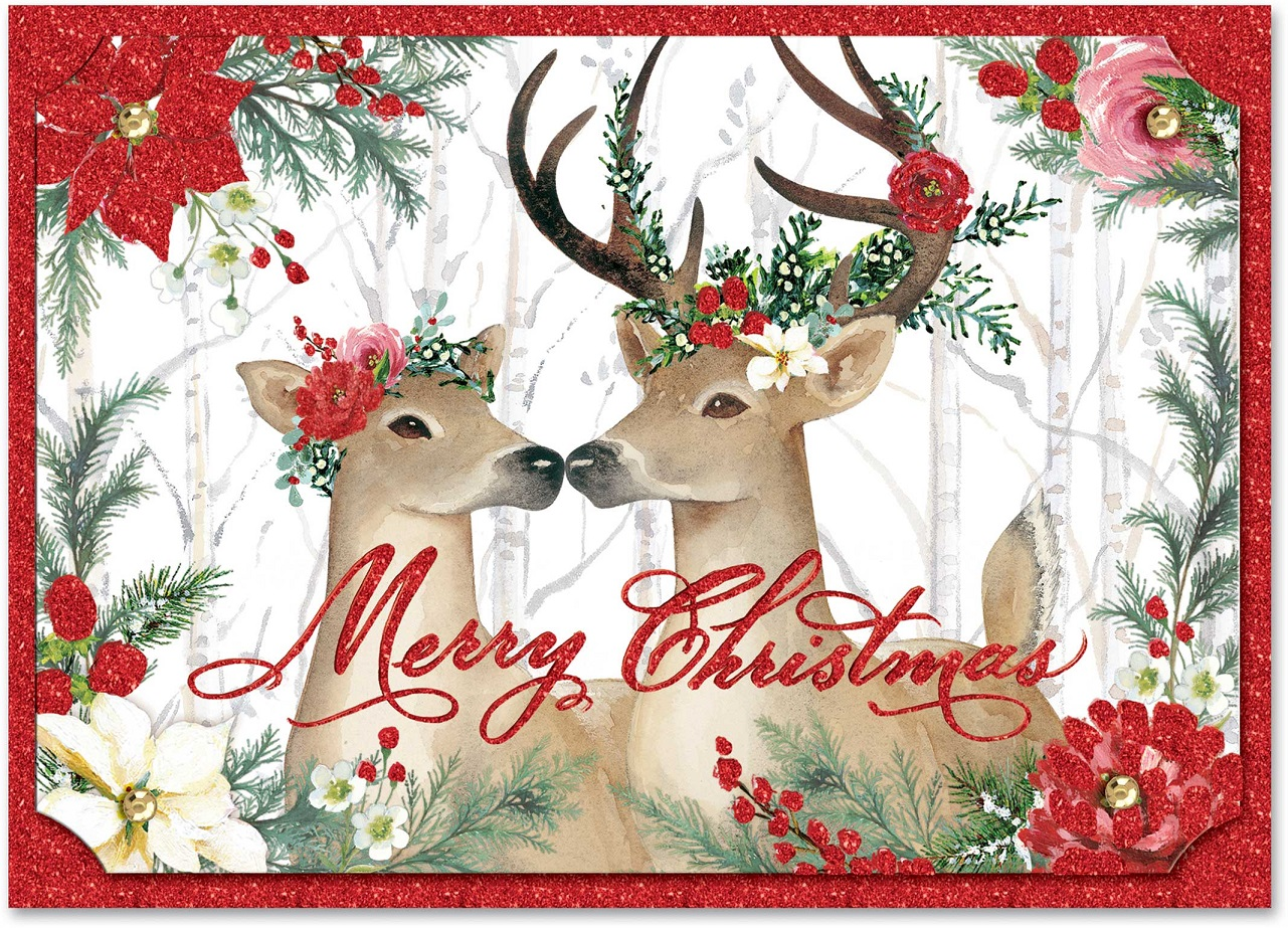 Deer Cheer Holiday Cards Christmas Punch Studio