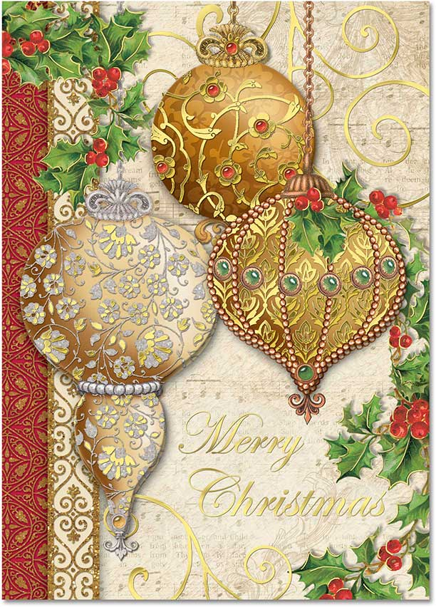 Elegant Ornaments Boxed Christmas Cards Holiday Punch