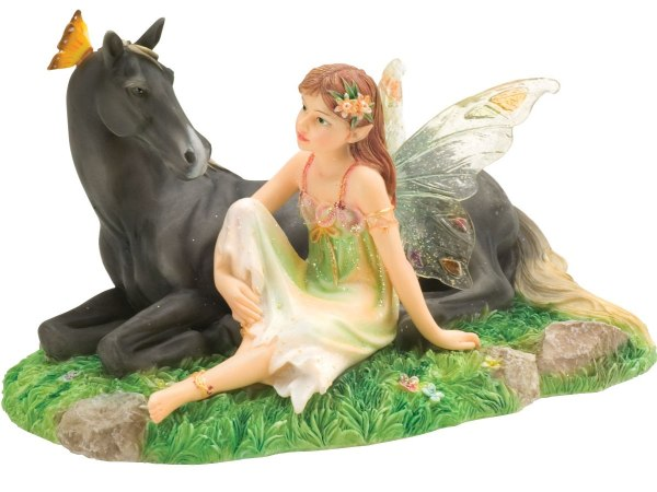 Faerie Glen Harmony Fairy Sitting With Horse Collectible