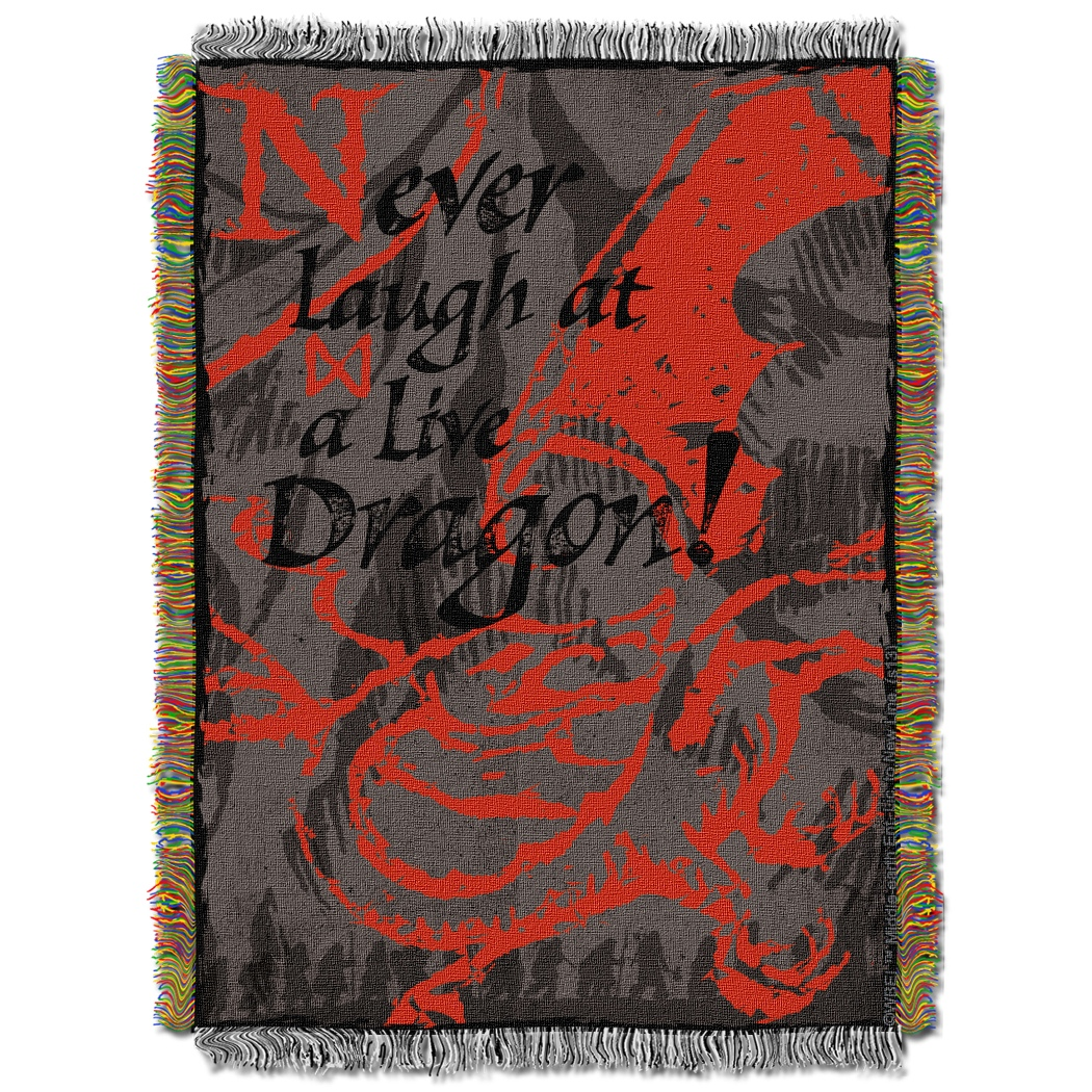 Never Laugh At Live Dragon Tapestry Throw Blanket The