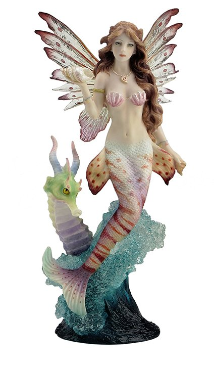 Lionfish Mermaid With Seahorse Dragon Figurine Mermaid