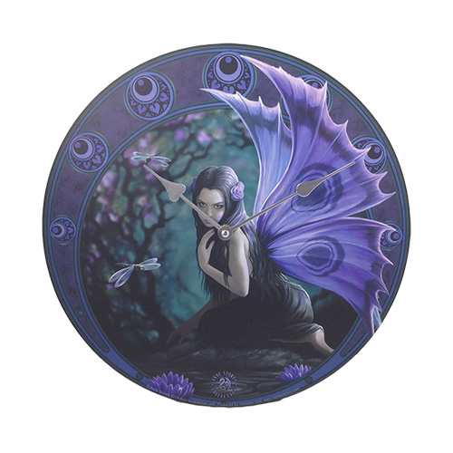 Purple Fairy Amp Dragonfly Wall Clock By Anne Stokes Fairy