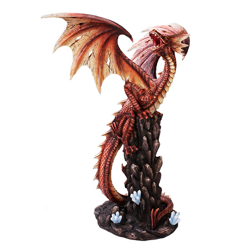 Red Roaring Dragon On A Rock Figurine Dragon Statues