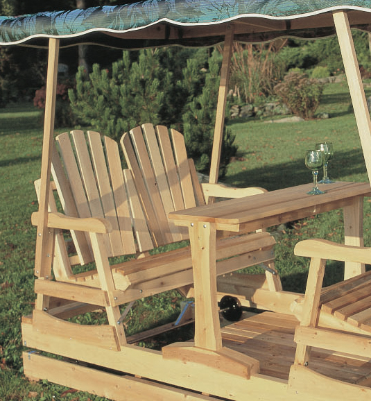 DELUXE CEDAR GLIDER  NATURAL  Garden Swings and Gliders