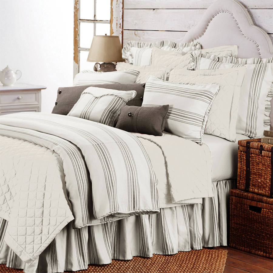 Prescott Taupe Stripe Duvet Cover King and Queen Duvet HiEnd Accents Bedding  Prescott Taupe