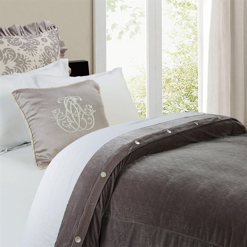 Kerrington Slate Grey Velvet Duvet Cover HiEnd Accents