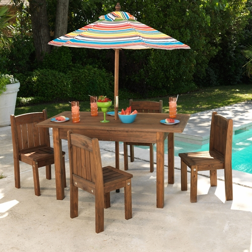 Kids Outdoor Espresso Table and Stacking Chairs Kids