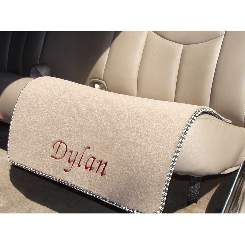 grey and white accent chair wicker chaise lounge monogrammed car seat protector mat - personalized mats