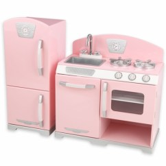 Kitchen Kid Pantry Cabinets Pink Play Kids Kitchens Retro S And Refrigerator