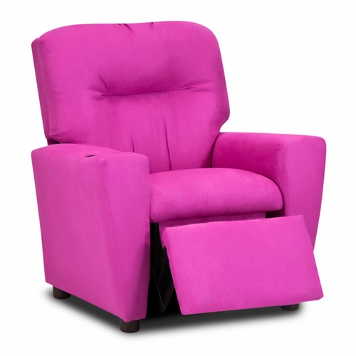 kids recliner chair red patio cushions girl s pink suede child recliners
