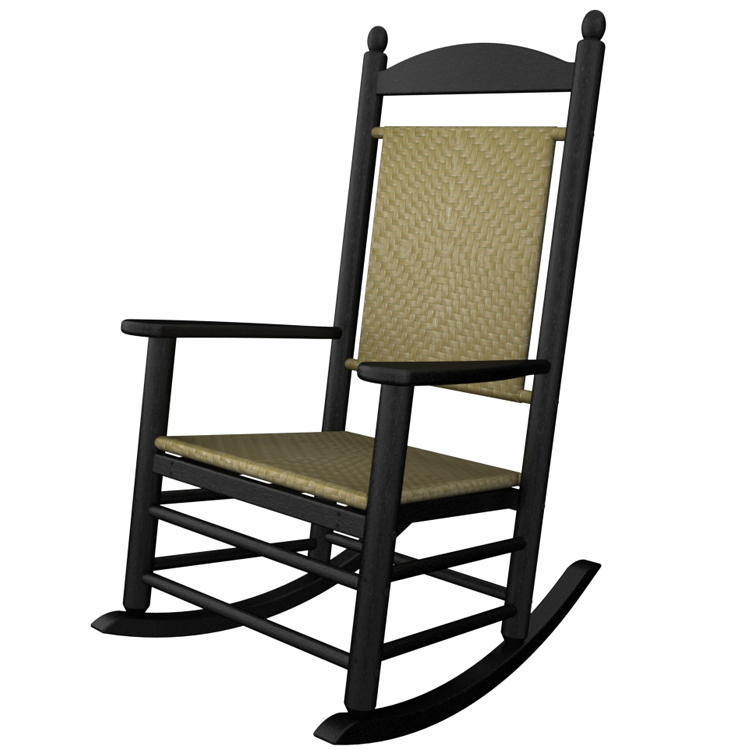 Polywood Black Jefferson Woven Rocking Chair Outdoor