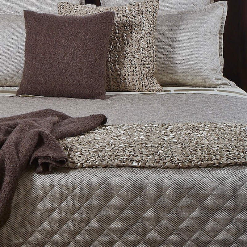 Raffia Coverlet Set Taupe Ann Gish Bedding King or