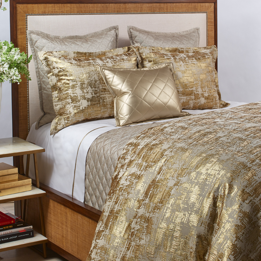 Scratch Duvet Set in Gold The Art Of Home Bedding by Ann