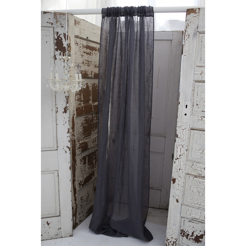 Couture Dreams Solid Slate Grey Linen Window Curtain