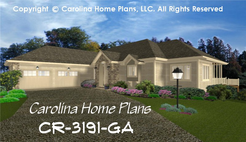 Large Contemporary Ranch Style House Plan CR