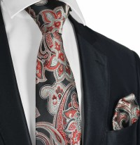 Black, Red and Grey Paisley Men's Tie Set