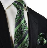 Green and Black Silk Tie Set by Paul Malone