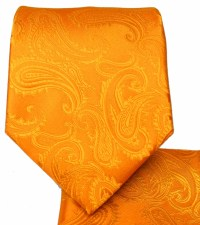 Orange Paisley Necktie and Pocket Square Set