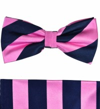 Paul Malone Bow Tie and Pocket Square Set . Pink and Navy ...