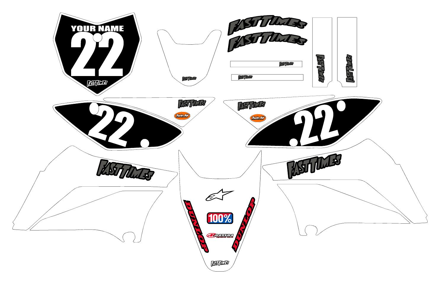 Klx110 Graphics Kit White Clean Series By Fast Times