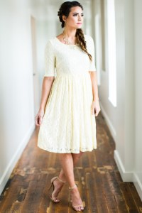 Emmy Modest Bridesmaid Dress in Cream Lace