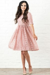 Erin Modest Bridesmaid Dress in Blush Rose Pink Lace