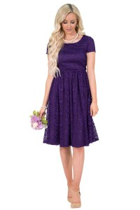 """""""Jenna"""" Modest Dress or Modest Bridesmaid Dress in Purple Lace"""