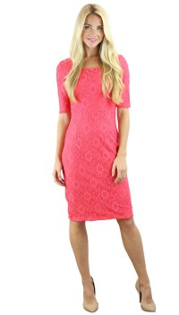 June Modest Bridesmaid Dress in Coral Lace