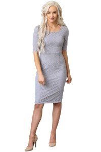 June Modest Bridesmaid Dress in Grey Lace