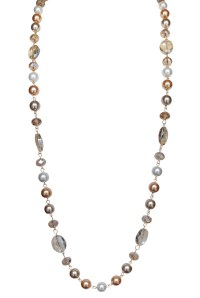 Long TriColor Pearl & Crystal Necklace with Earrings
