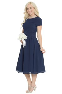 "JenClothing's ""Lucy"" Semi-Formal Modest Dress in Navy Blue"