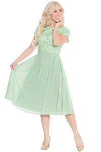 Semi-Formal Modest Bridesmaid Dress in Sage Green or Mint