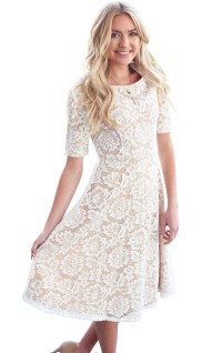 Sloan Modest Bridesmaid Lace Dress in White w/Tan (Nude ...