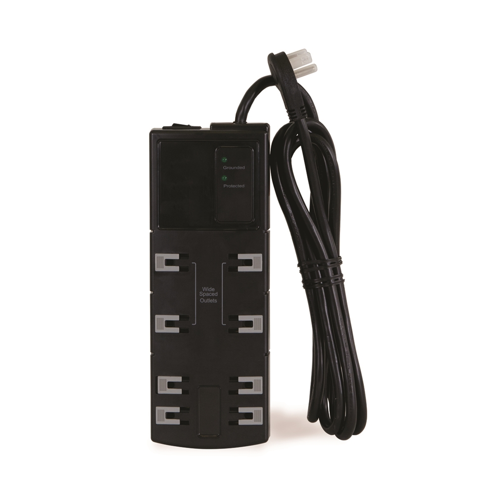 15 Amp Power Strip Medium 10 Outlet Protection Circuit Breaker