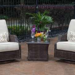 Wicker Swivel Patio Chair Cafe Style Table And Chairs Mila Collection 2 Person All Weather Furniture Chat Set W