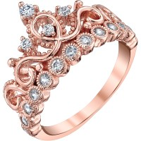 Rose Gold-plated 925 Sterling Silver Crown Ring | Crown ...